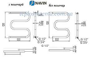 Полотенцесушитель водяной Змеевик (25)  500 х 400 с полочкой (NAVIN), фото 3