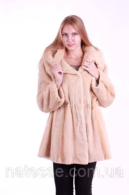Шуба кожушок з бобра з капюшоном Pearl-color beaver fur coat, flared
