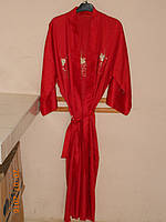 Халат шелковый красный с вышивкой