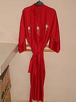 Халат шелковый красный с вышивкой, фото 1