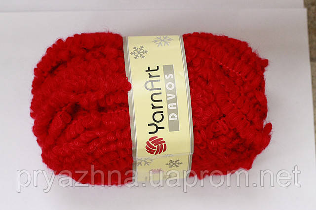 пряжа для вязания давос букле красный цвет пряжа букле ярнарт