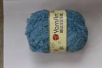 Пряжа для ручного вязания букле Давос голубой цвет