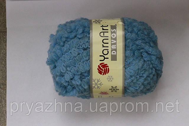 пряжа для вязания голубой цвет пряжа букле ярнарт шерстяные нитки