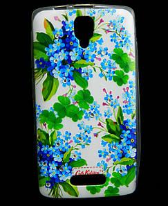 Чехол накладка для Lenovo A1000 силиконовый Diamond Cath Kidston, Прекрасные незабудки