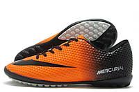 Сороконожки подростковые Nike Mercurial Walked оранжево-черные(найк меркуриал)