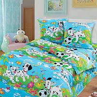 Бязь для детского постельного белья 150 см Далматинцы голубые