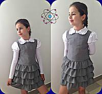 Белая школьная блузка из вискозы с атласом на подростка