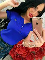"""Женская блузка """"Бантик"""", креп - шифон, синяя, мятная, красная, темно-синяя, размеры 42,44,46,48"""