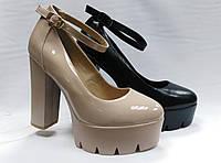 Туфли  на каблуке с ремешком ( 2 цвета: черные и бежевые). Маленькие и стандартные размеры.