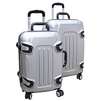 Стильный пластиковый чемодан на колесах двойка ручная кладь.