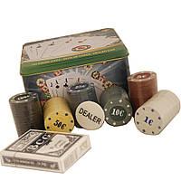 Покерный набор на 120 фишек, в металлической упаковке.
