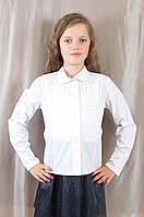 Приталенная школьная блуза с кружевом для девочки, Польша