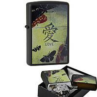 Зажигалка Zippo 20839 BLACK MATTE LOVE черная 20839, фото 1
