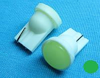 Светодиодная лампа W5W T10  COB зеленый цвет