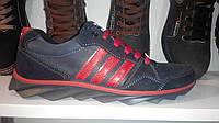 Мужские кроссовки Adidas (синие с красными полосками), фото 1