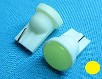 Светодиодная лампа W5W T10  COB жёлтый цвет