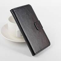 Чехол книжка для Lenovo A2010 боковой с отсеком для визиток, Гладкая кожа Черный