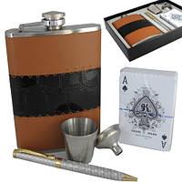 Эксклюзивная фляга кожаная, карты, ручка и стаканчик. 260 мл. FP17122, фото 1