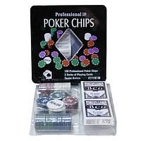 Покерный набор в железной коробке на 100 фишек.