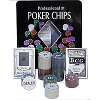 Покерный набор в железной коробке на 100 фишек. PN62002