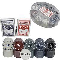 Игра покерный набор 100 фишек и карты, в пластиковой упаковке.