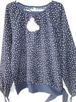Синяя блуза с белыми маленькими сердцами