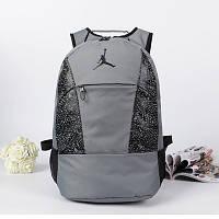 Спортивный рюкзак Jordan серый с черным логотипом