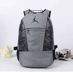 Спортивный рюкзак Jordan серый с черным логотипом (реплика)
