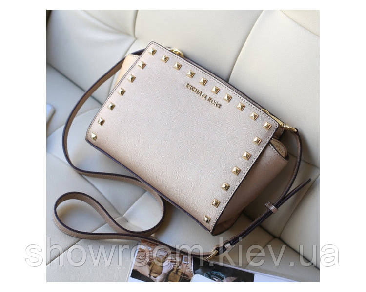 Cумка -crossbody в стиле Michael Kors Selma (3233) gold