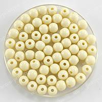 Бусины пластиковые диаметр 8мм (упаковка 50шт) Цвет - слоновая кость