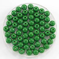 Бусины пластиковые диаметр 8мм (упаковка 50шт) Цвет - изумрудный