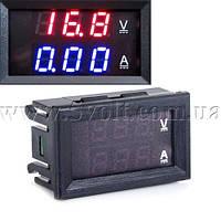 Панельный вольт-амперметр DC 0-100V 0-10A 3 цифры красный 0.28 с шунтом