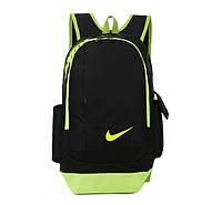 Рюкзак Nike черный с салатовым логотипом