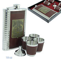 Подарочный набор с флягой Джим Бим, стаканчики и лейкой 260 мл. , фото 1