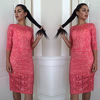 Платье коктейльное из гипюра