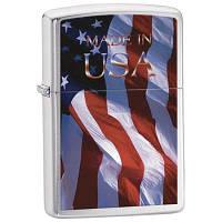 Зажигалка Zippo 24797 MADE IN USA FLAG серая 24797