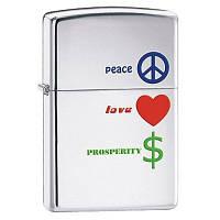 Бензиновая зажигалка Zippo 24714 Peace Love Prosperity (Мир, любовь, процветание).