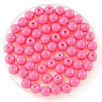 Бусины пластиковые диаметр 8мм (упаковка 50шт) Цвет - ультра-розовый(яркий)