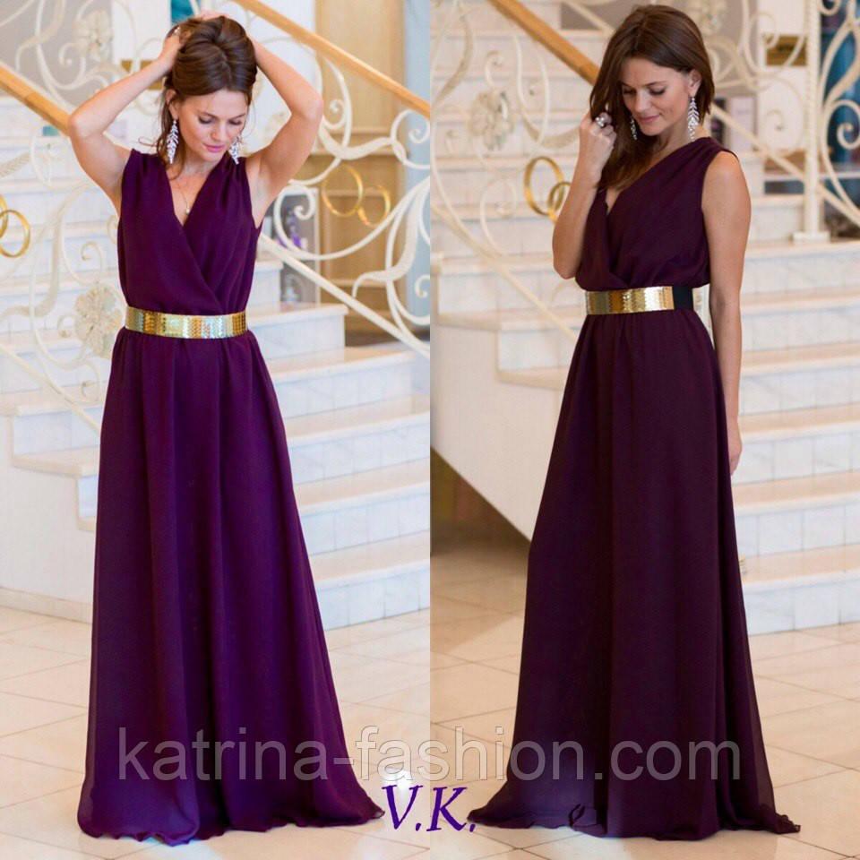 Женское красивое шифоновое платье с пол