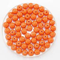 Бусины пластиковые диаметр 8мм (упаковка 50шт) Цвет - оранжевый
