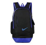 Рюкзак Nike черный с синим логотипом (реплика)