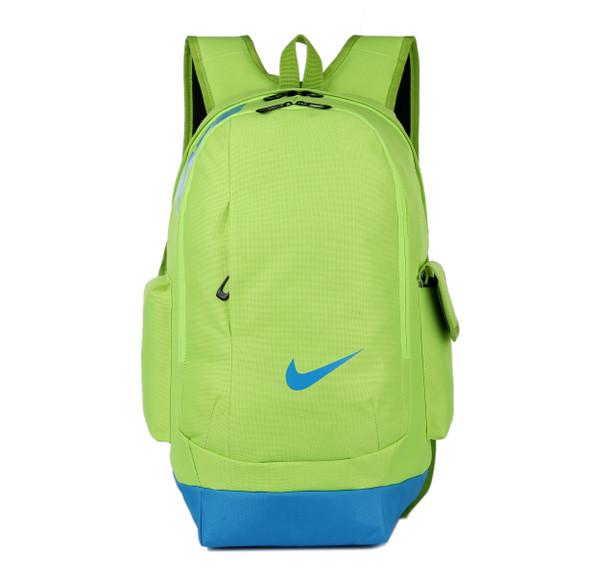 Рюкзак Nike салатовый с голубым логотипом (реплика)