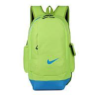Рюкзак Nike салатовый с голубым логотипом
