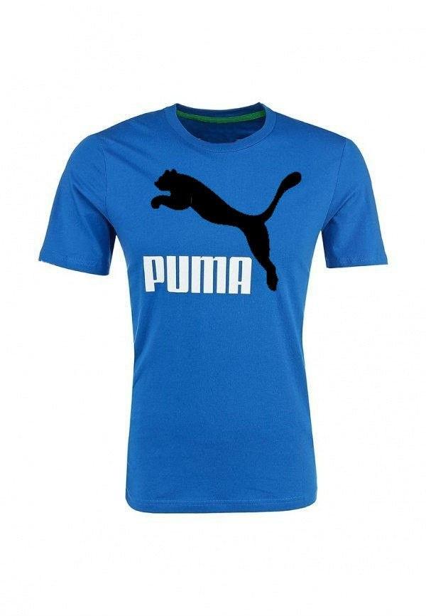 Мужская футболка Puma синяя с чёрным принтом