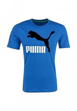 Мужская футболка Puma синяя с чёрным принтом, фото 2