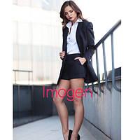 Костюм с удлиненным пиджаком-кардиганом и шорты, ткань: креп, цвет: черный, супер качество вш №882