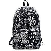 Городской рюкзак Adidas черный с белыми надписями (реплика)