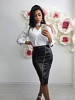"""Женская стильная """"кожаная"""" юбка со змейкой (3 цвета)"""