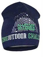 Демисезонные вязаные шапочки для мальчика синего цвета на подкладе.