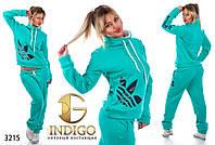 """Спортивный костюм женский теплый больших размеров """"Adidas воротник"""""""